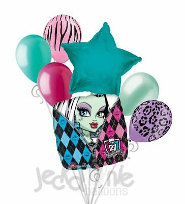 7 pc Monster High Balloon Bouquet Party Decoration Happy Birthday Frankie Stein
