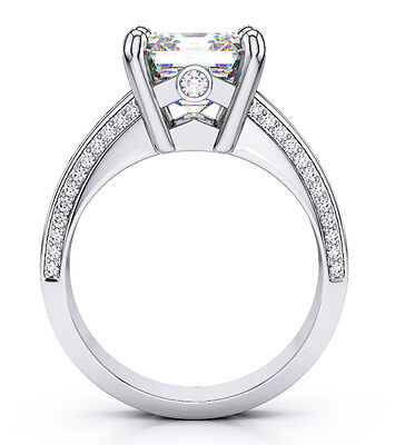 1.90 Ct. Asscher Cut Baguette & Round Diamond Engagement Ring E,VS2 GIA 14k WG 1