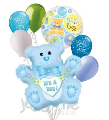 Welcome Home Baby Shower (7 pc It's a Boy Blue Bear Balloon Bouquet Decoration Baby Shower Welcome Home)