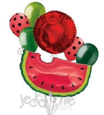 7 pc Red Watermelon Slice Picnic Balloon Bouquet Party Decoration Luau Birthday (Luau Birthday Party Decorations)