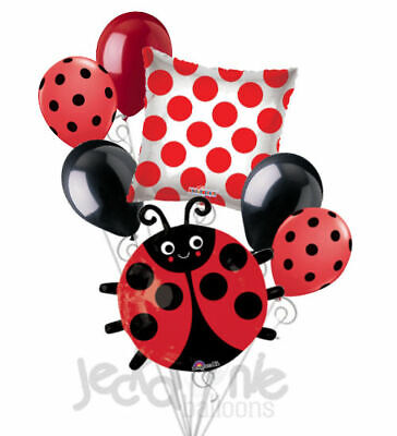 7 pc Red & Black Happy Lady Bug Balloon Bouquet Party Decoration Baby Birthday](Lady Bug Birthday)