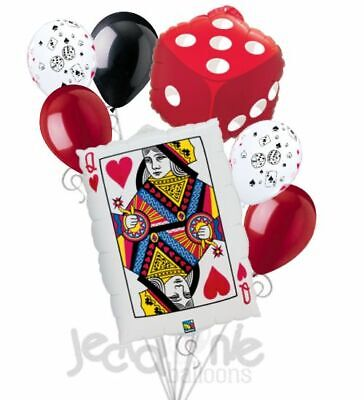 7pc Poker Party Queen Hearts Balloon Bouquet Party Decoration Birthday Dice Card](Poker Decorations Birthday Party)