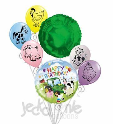 7 pc Green Farm Tractor Balloon Bouquet Party Decoration Happy Birthday Barn