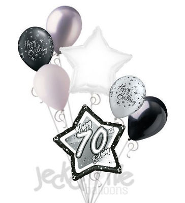 7 pc 70th Elegant Star Happy Birthday Balloon Bouquet Decoration Black & White - Happy 70th Birthday Decorations