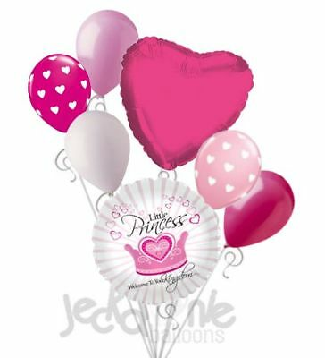 7 pc Welcome Little Princess Crown Balloon Bouquet Decoration Baby Girl Shower