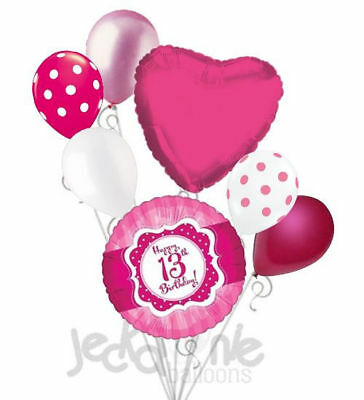 13 Birthday (7 pc Happy 13th Birthday Hot Pink & Dots Balloon Bouquet Eighteen Ribbon &)