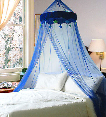 Blue Round Dome Bed Canopy Bedcover Mosquito Net Bug Netting