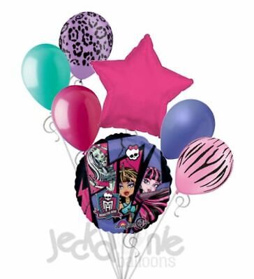 7 pc Monster High Balloon Bouquet Party Decoration Happy Birthday Group - Monster High Balloons