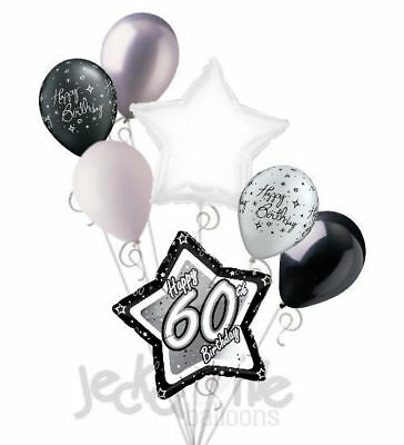 Elegant 60th Birthday Decorations (7 pc 60th Elegant Star Happy Birthday Balloon Bouquet Decoration Black &)