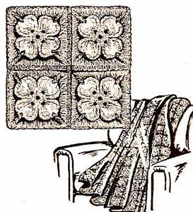 Vintage-Crochet-PATTERN-Afghan-Throw-Dogwood-Flower