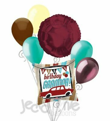 7 pc Car Happy Birthday Grandpa Balloon Bouquet Party Decoration Grandfather](Happy Birthday Cars)