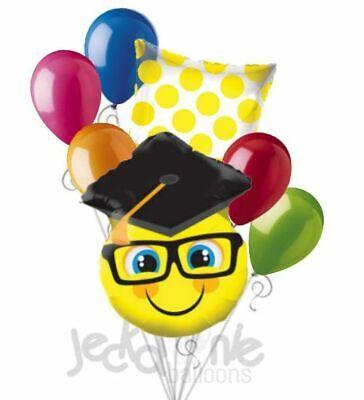 7 pc Smiley Face Grad Cap Balloon Bouquet Happy Graduation Congratulations Smile](Congratulations Balloons)