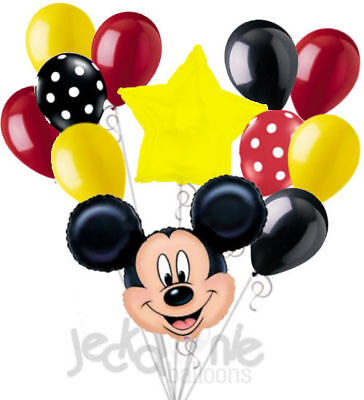12 pc Mickey Mouse Theme Balloon Bouquet Party Decoration Birthday Graduation (Mickey Mouse Party Theme Decorations)