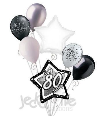Happy 80th Birthday Balloons (7 pc 80th Elegant Star Happy Birthday Balloon Bouquet Decoration Black &)