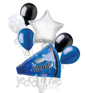 7 pc go grad blue megaphone balloon bouquet party for 7 star balloon decoration