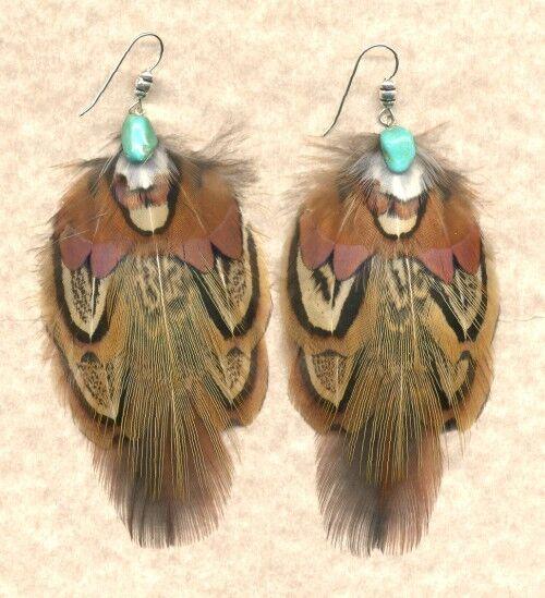 CUSTOM Eagle-Design Pheasant Feather Earrings BOLD!! ~ Handmade in USA