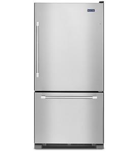 """Réfrigérateur Maytag en stainless 30"""" avec congélateur en bas"""