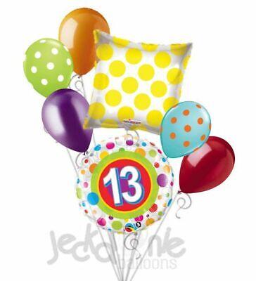 7 pc 13th Happy Birthday Dots Happy Birthday Balloon Bouquet Teenager Teen 13 (13th Birthday)