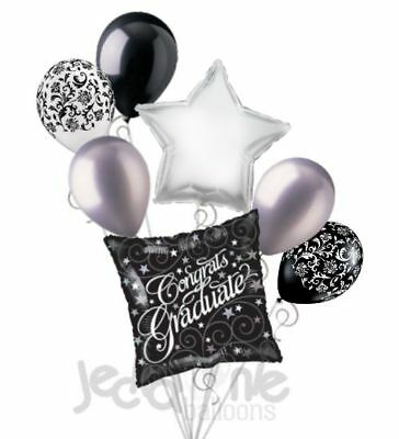 7pc Black Stars & Filigree Congratulations Grad Balloon Bouquet Graduation White (Congratulations Balloons)