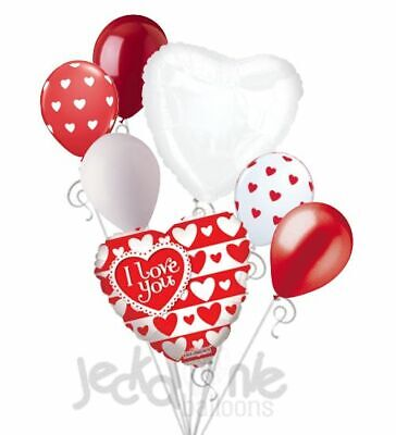 Red White Balloons (7 pc Red & White Hearts I Love You Heart Valentines Day Balloon Bouquet Be)