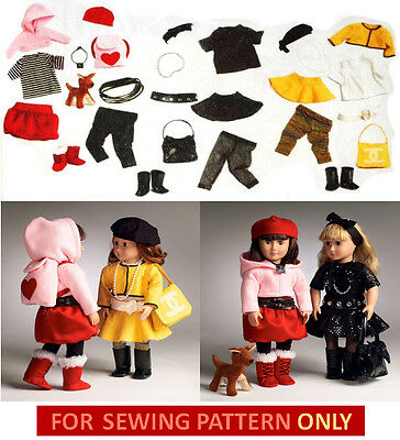 SALE! SEWING PATTERN! MAKE DOLL CLOTHES~DOG! FIT AMERICAN GIRL~MIX~MATCH OUTFITS