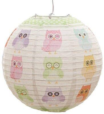 Papier Lampenschirm Eule owl Eulen Hängelampe Lampe Papierlampe Kinderzimmer