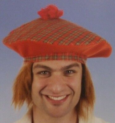 Herren Tam O Shanter Hut mit Pelz Haare Schottisch Schotte Kostüm - Tam O Shanter Hut Kostüm