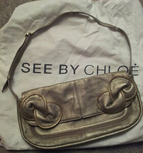 original see by chloe tasche handtasche gold bronze schleife netaporter dustbag ebay. Black Bedroom Furniture Sets. Home Design Ideas