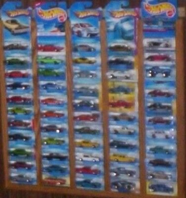oak hot wheels matchbox display rack frame holds 55 carded CARS NOT INCLUDED t1