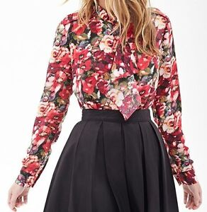 Forever 21 Watercolor Floral Ruffled Blouse