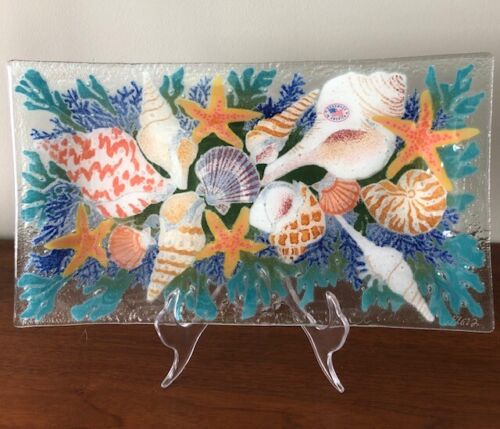 Peggy Karr Art Glass Sea Shells Fused Glass Tray 14 Inch Signed
