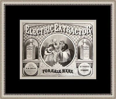 "19th Century American Advertising Print "" Electric Extractor Co "" Custom Framed"