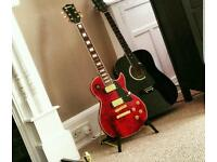 Les paul style electric guitar and amp
