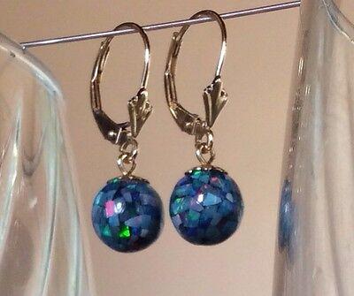 14kt Gold Lever Back Earrings Fancy Caps & Eyes on Black Opal Mosaic 8mm Balls !