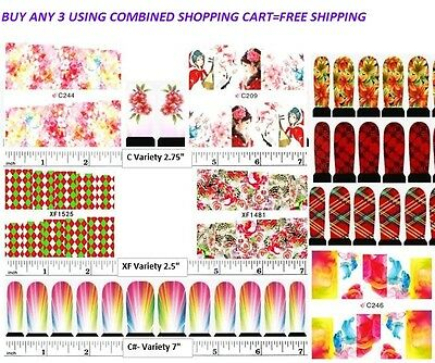 - Nail art water transfer decal sticker wrap XF and C series The Pink and Red 3