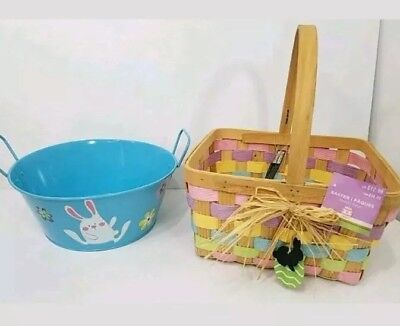 Easter Woven Wicker Basket & Metal Tin Pail Bunny Pastel Pink Blue Swing - Easter Pails