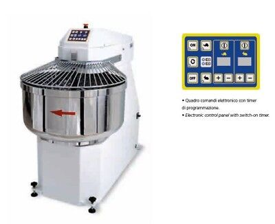 Spiral Dough Mixer 90 Lt 95 Qt - 60 Kg 132lbs - With Timer - Made In Italy