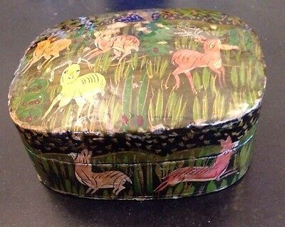Srinagar Paper Mache Lacquer Hand Painted Trinket Box Kashmir India Rare Vintage
