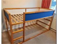 Quality Sturdy Wood IKEA Kura Single Bunk Sleeper Loft Cabin Bed Frame Child Kids Girl Boy Bedroom