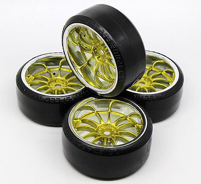 (4 PCS HPI Wheel Rim +HPI Hard Plastic Drift Tires FOR 1/10 RC On Road Car GOLDEN)