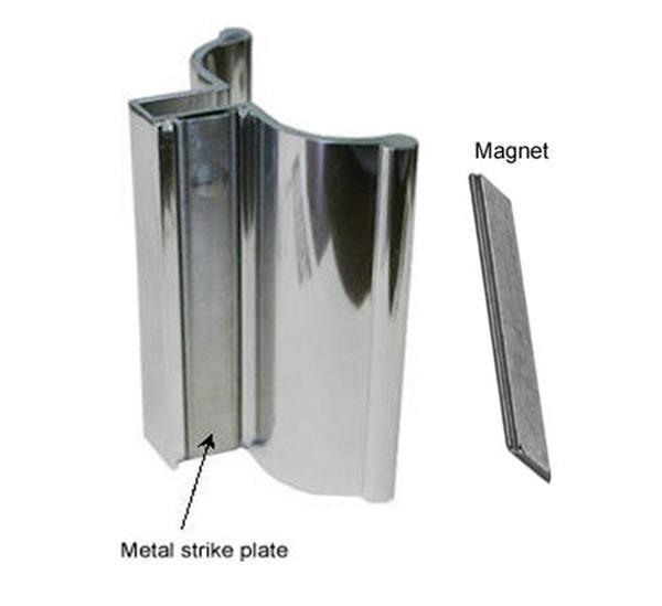 "3"" Bright Chrome Frameless Shower Door Handle with Metal Str"
