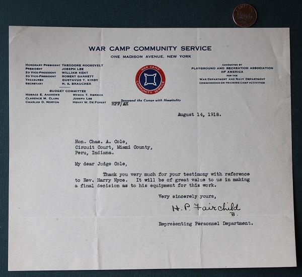 1918 Peru,Indiana World War I Camp Community Service letter-Teddy Roosevelt too*