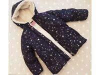 Joules star puffa fleece lined coat size 4