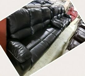 Black leather 3 & 3 seater sofa recliner