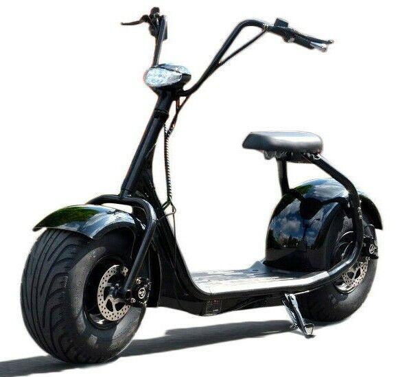 E-Scooter Coco Fat Bike ca.40 Km/H Harley Chopper Elektro Roller Scooter Schwarz