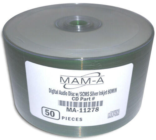 50-Pak MAM-A (Mitsui) DIGITAL-AUDIO Silver Inkjet Printable CD-R