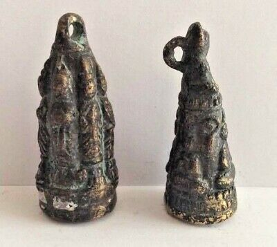 Lot 2 Amulet Figure Pendant Bronze Copper Buddha Jingle Cambodia P73