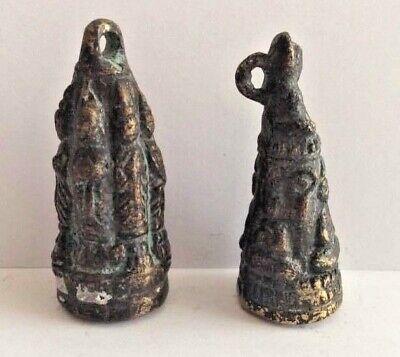 Lot 2 Amulet Figure Pendant Bronze Coppered Asia Buddha Jingle Cambodia B