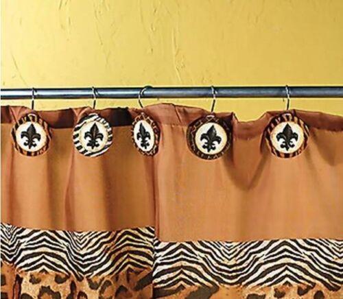 Set 12 Animal Print Fleur De Lis Shower Curtain Hooks
