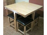 Space Saver Dining Table and Chairs / Stool Set